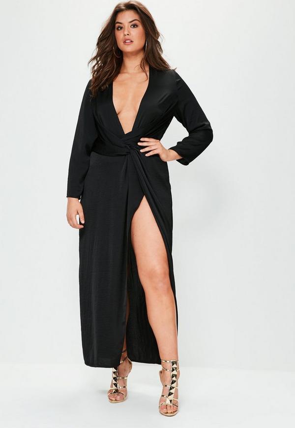 Curve Black Satin Thigh Split Wrap Maxi Dress Missguided