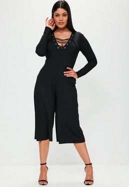 Plus Size Black Ribbed Lace Up Culotte Jumpsuit