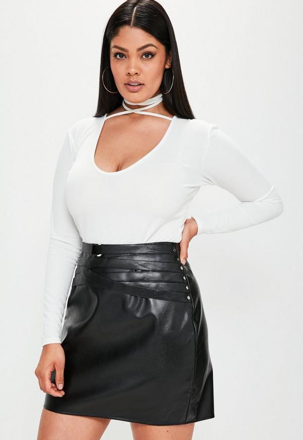 Plus Size Black Belted Detail Faux Leather Mini Skirt
