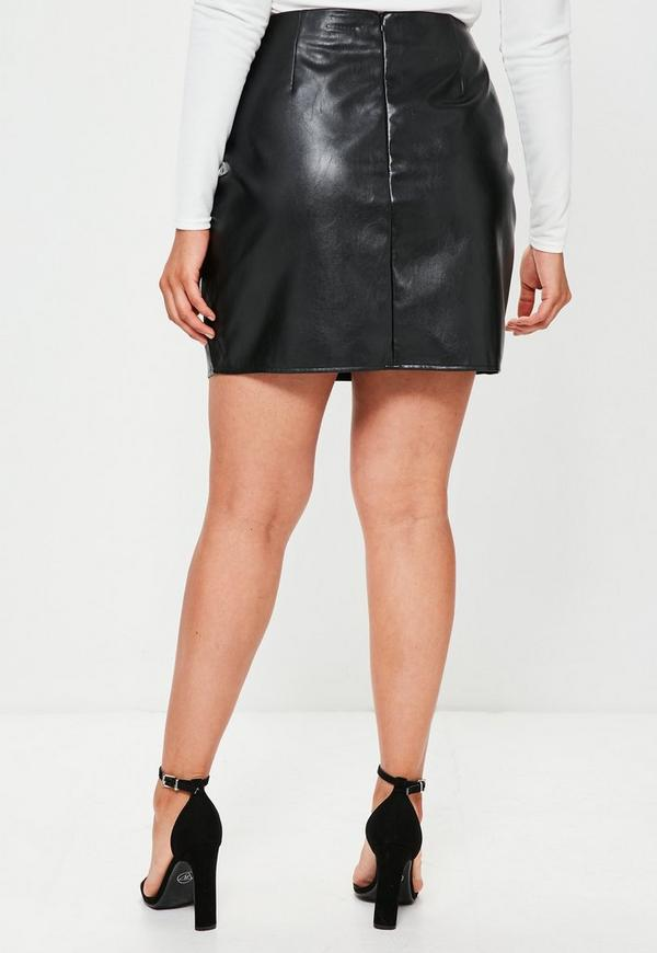 Plus Size Black Belted Detail Faux Leather Mini Skirt | Missguided