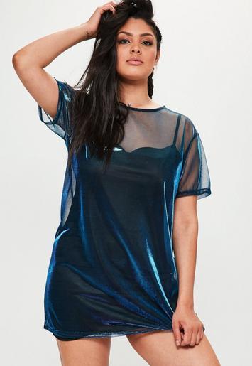 Plus Size Blue Mesh Metallic Cami Underlay T Shirt Dress