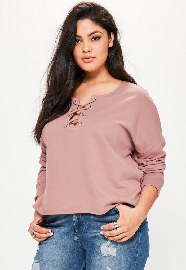 Plus Size Purple Lace Up Raw Edge Sweater