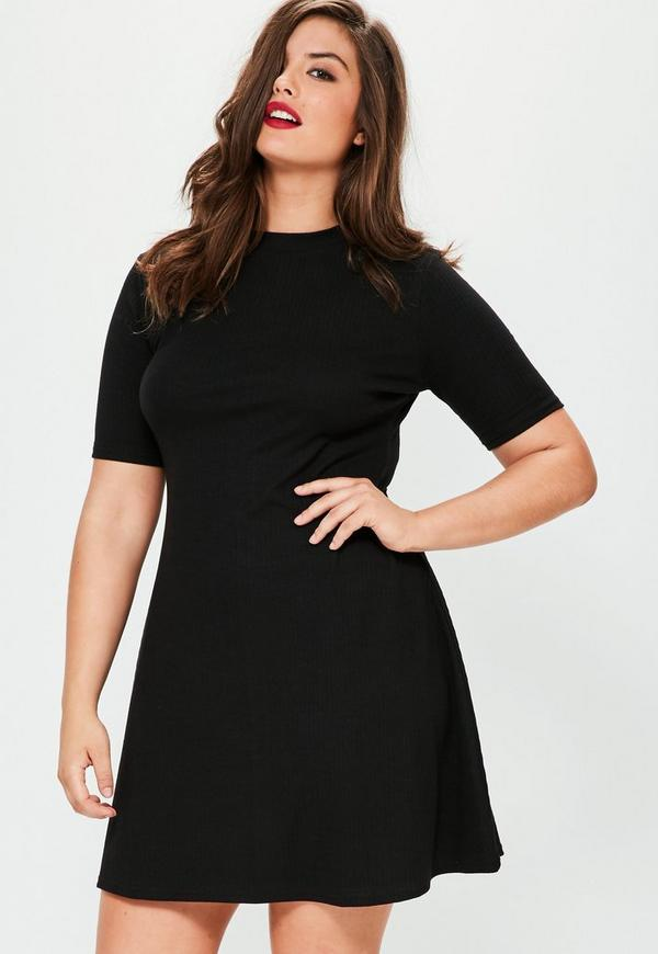 Plus Size Black Ribbed Basic Swing Dress