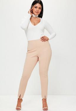 Beżowe dopasowane spodnie cygaretki Plus Size