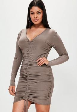 Plus Size Brown Ruched Slinky Dress