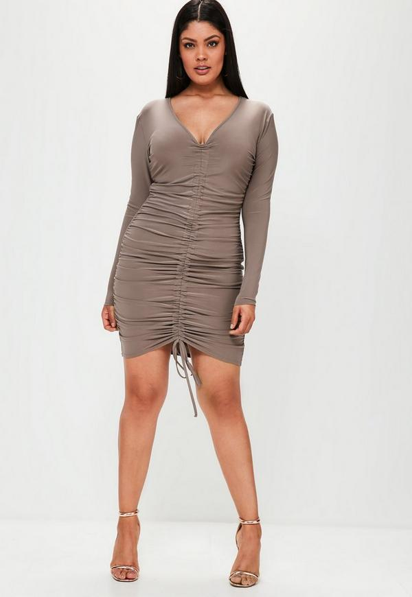 Curve Brown Ruched Slinky Dress Missguided