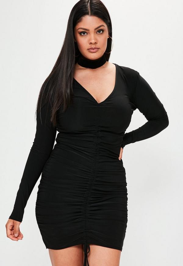 Plus Size Black Ruched Slinky Dress