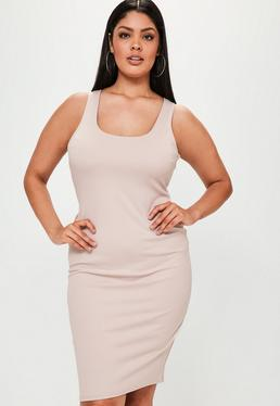 Plus Size Nude Sleeveless Bodycon Midi Dress