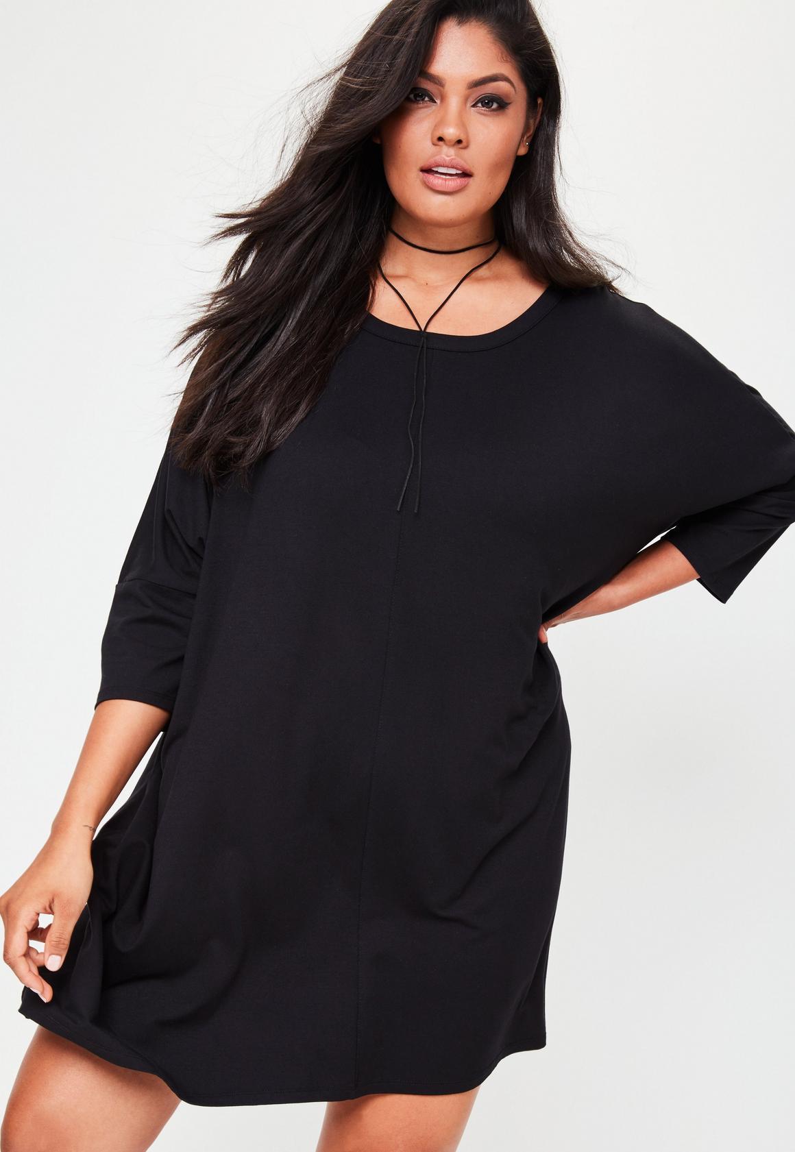 Oversized black t shirt - Curve Black Oversized T Shirt Dress Previous Next