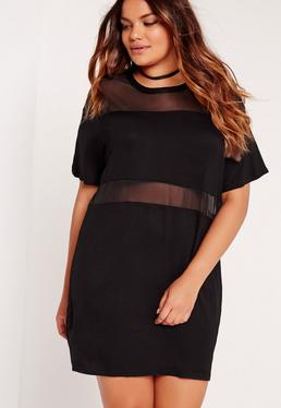 Czarna owersajzowa sukienka z panelami z siatki Plus Size