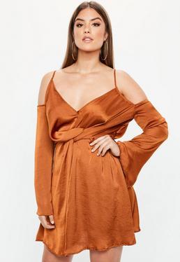 Plus Size Brown Satin Cold Shoulder Wrap Dress