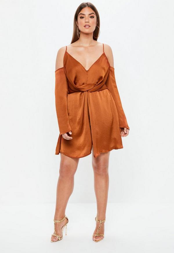 Brown Satin Dress