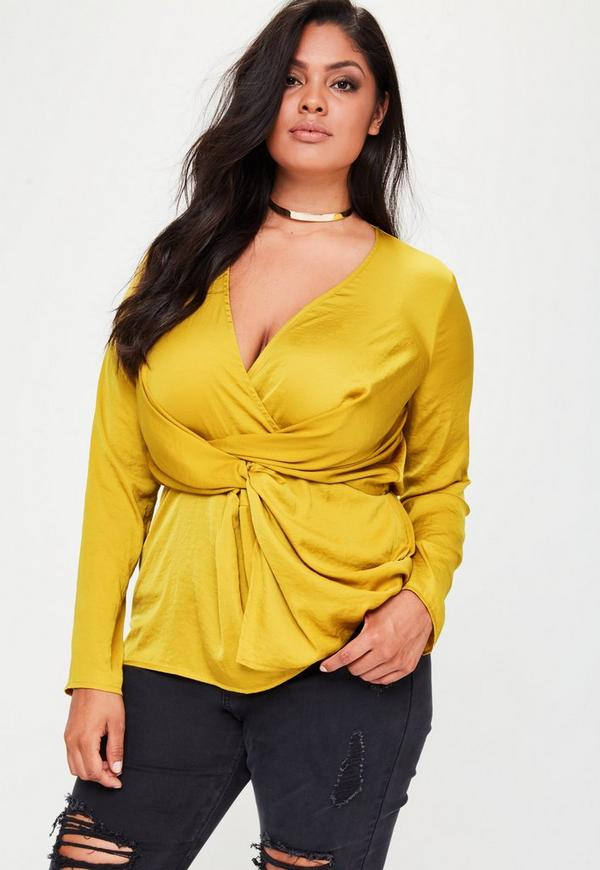 Plus Size Yellow Hammered Satin Blouse