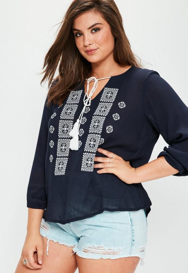 Plus Size Navy Embroidered Cheesecloth Tassel Top