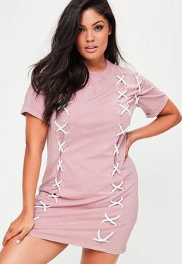 Plus Size Pink Lace Up Front T Shirt Dress