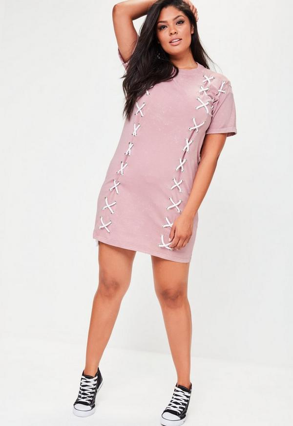plus size pink lace up front t shirt dress missguided