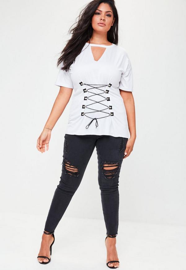 Plus Size White Contrasting Corset Lace Up Front T Shirt ...