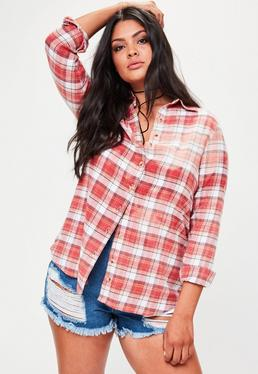 Plus Size Red Bleached Oversized Checkered Shirt