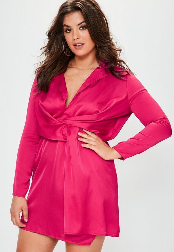 Plus Size Fuchsia Satin Wrap Plunge Mini Dress