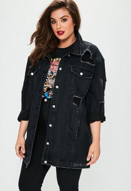 Plus Size Black Longline Denim Trucker Jacket