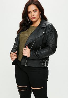 Plus Size Black Biker Jacket