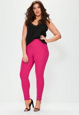 Różowe dopasowane spodnie cygaretki Plus Size