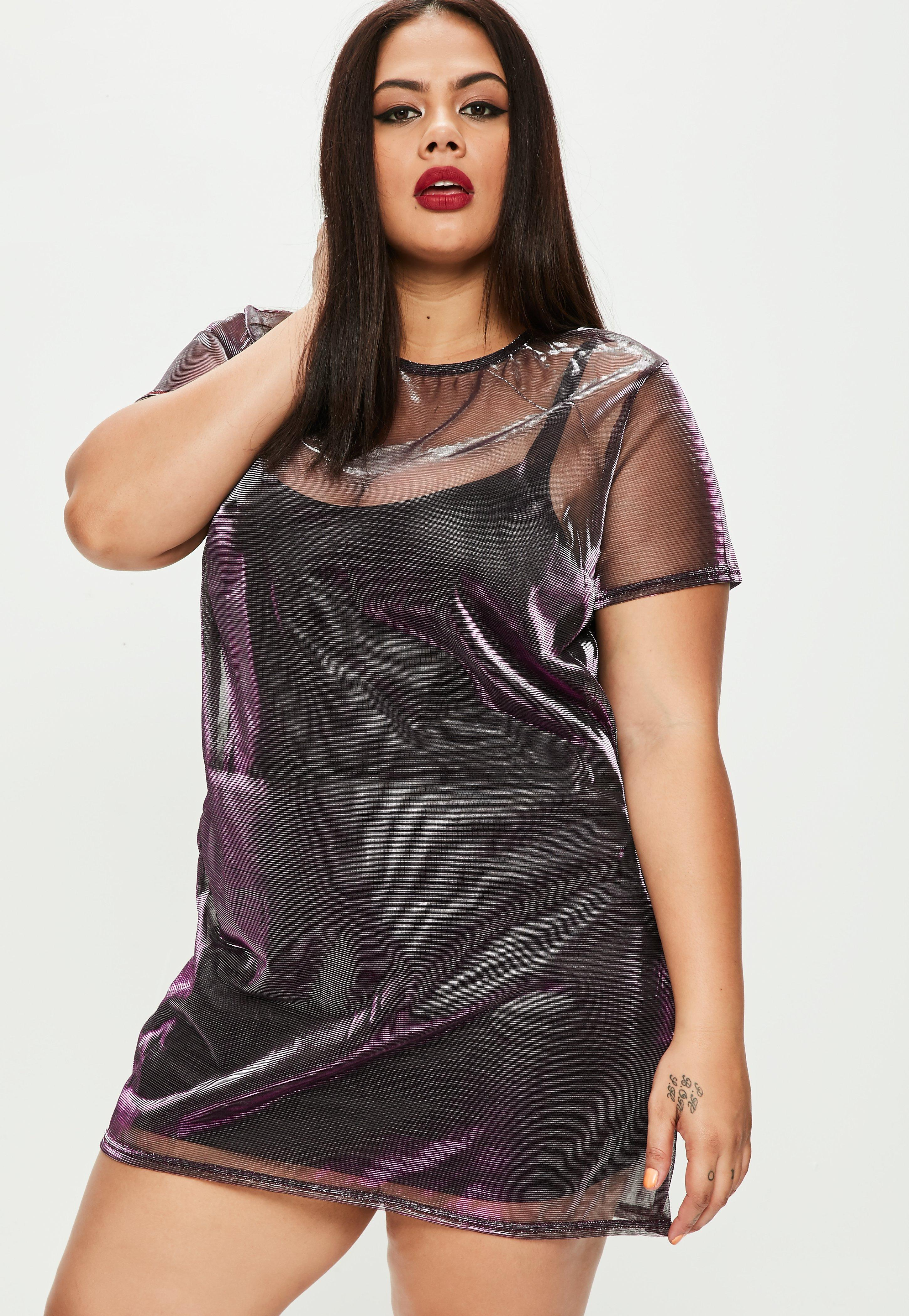 Plus Size Metallic T-Shirt Kleid in Lila | Missguided