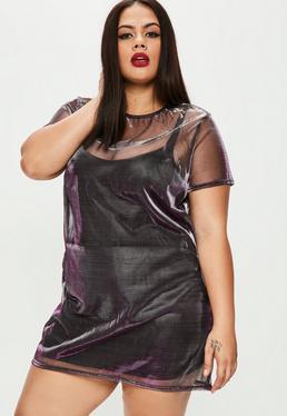 Plus Size Purple Metallic Mesh T-shirt Dress