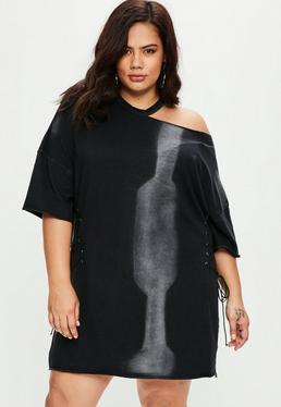 Vestido talla grande con corsé de efecto lavado en negro