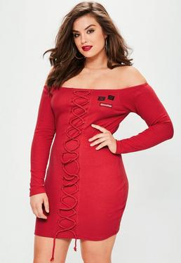 Plus Size Red Lace Up Bardot Dress
