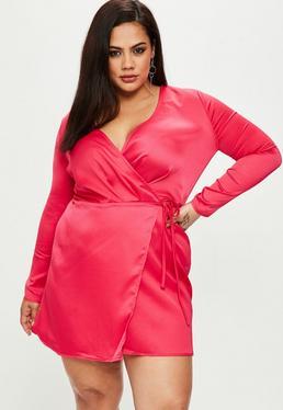 Plus Size Satin Pink Wrap Tie Side Mini Dress