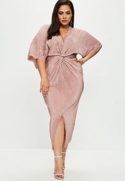 Plus Size Pink Metallic Crinkle Kimono Dress
