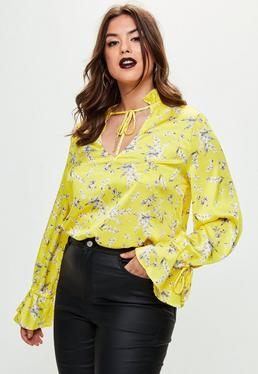 Plus Size Yellow Floral Tie Neck Top