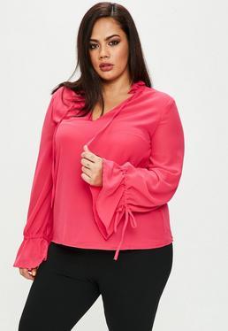 Różowa bluzka z falbankami na rękawach Plus size