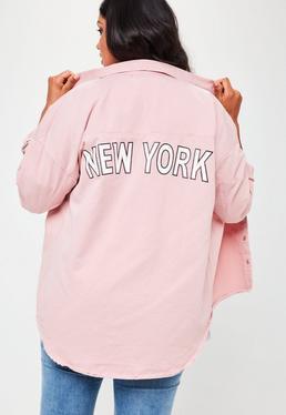 Różowa luźna koszula jeansowa z nadrukiem Plus Size