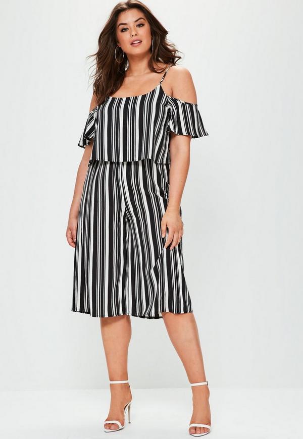 Plus Size Black Striped Cold Shoulder Jumpsuit