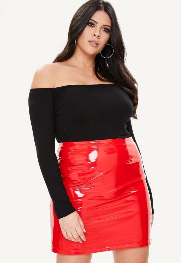 Curve Red Vinyl Mini Skirt Missguided