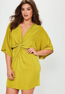 Vestido talla grande kimono en amarillo brillante