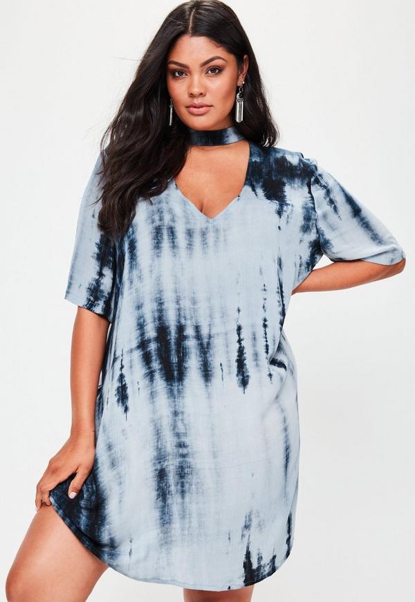 Plus Size Blue Tie Dye Choker Neck Dress
