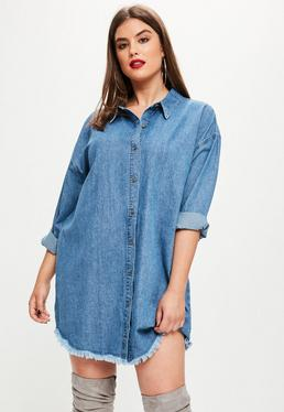 Plus Size Oversized Denim Shirt Dress