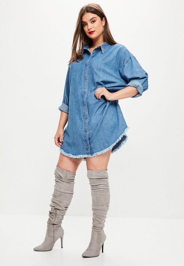 plus size oversized denim shirt dress   missguided