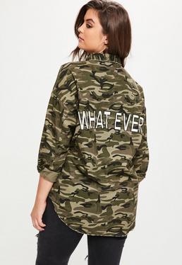 Curve Khaki camouflage Slogan Shacket