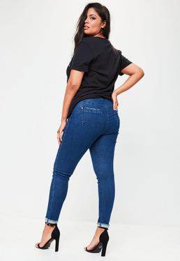 Plus Size Blue Turn Up High Waist Jeans