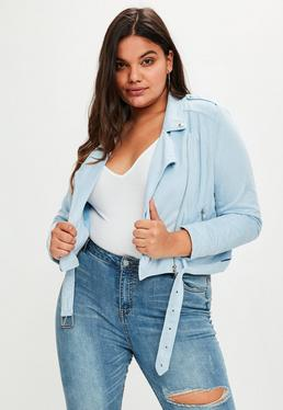 Plus Size Blue Faux Suede Biker Jacket
