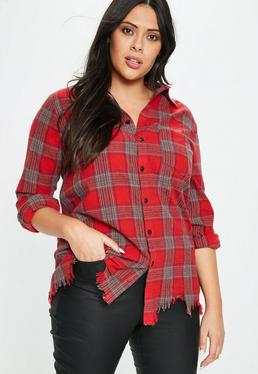 Camisa talla grande de cuadros en rojo