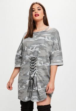 Curve Grey Camo Corset T-shirt Dress