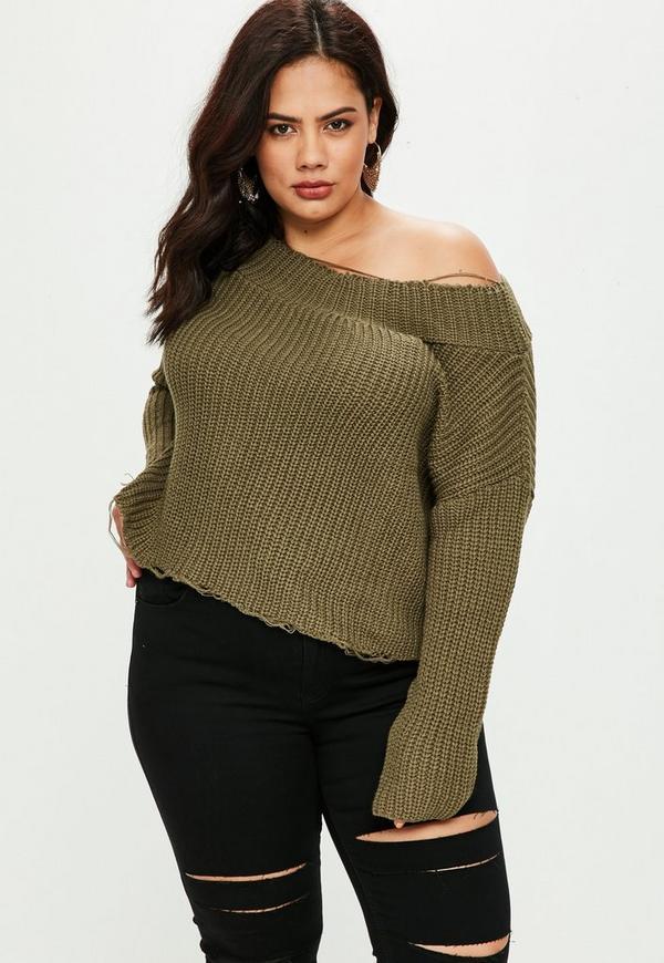 Plus Size Khaki Off Shoulder Sweater | Missguided