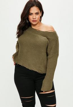 Sweter na jedno ramię w kolorze khaki plus size