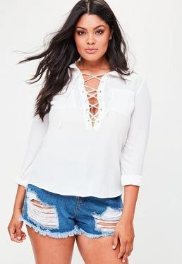 Curve White Lace Up Front Shirt