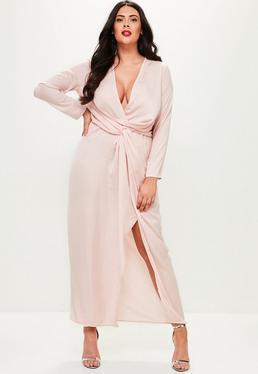 Curve Pink Satin Thigh Split Wrap Maxi Dress
